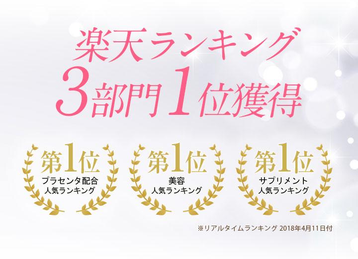 楽天ランキング 3部門1位獲得 プラセンタ配合人気ランキング第1位 美容人気ランキング第1位 サプリメント人気ランキング第1位